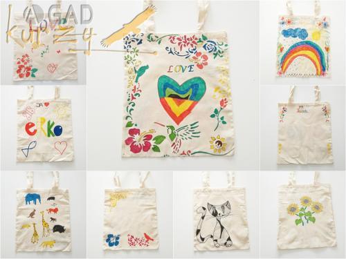Taška na plece - maľovanie textilu fixami